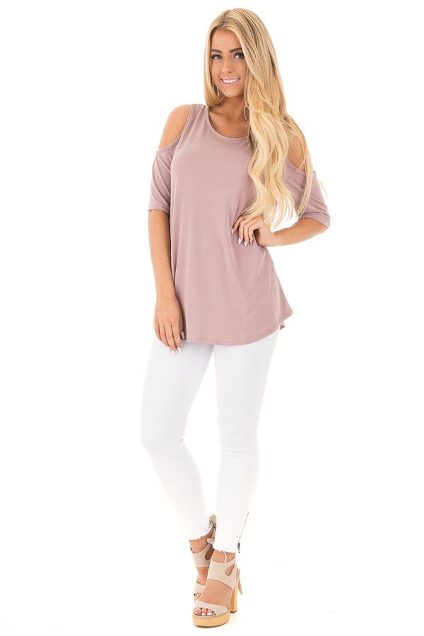 Mauve Reversible Cold Shoulder Cap Sleeve Top with Criss Cross front full body