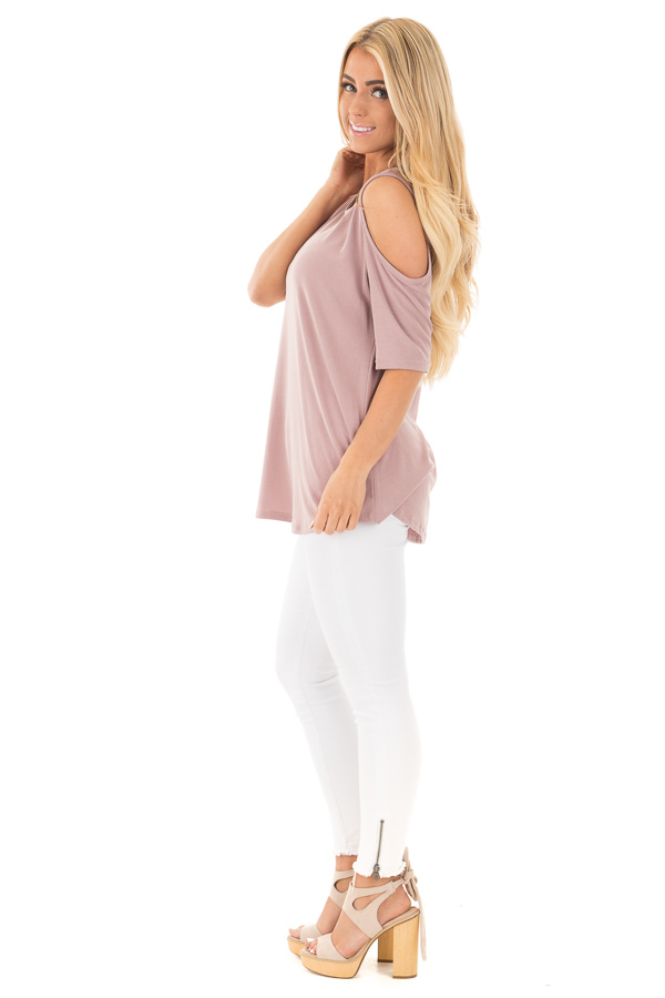 Mauve Reversible Cold Shoulder Cap Sleeve Top with Criss Cross side full body