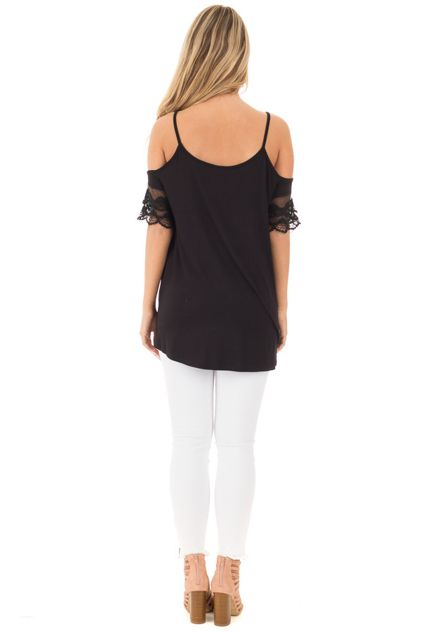 Black Cold Shoulder Blouse with Lace Sleeve Detail back full body