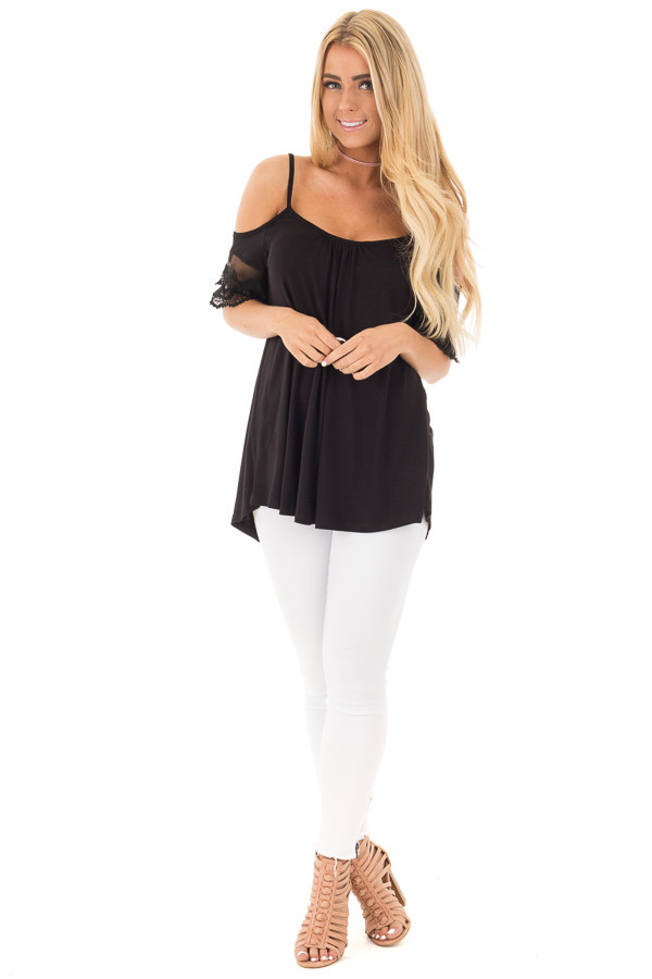 Black Cold Shoulder Blouse with Lace Sleeve Detail front full body