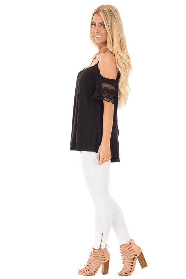 Black Cold Shoulder Blouse with Lace Sleeve Detail side full body