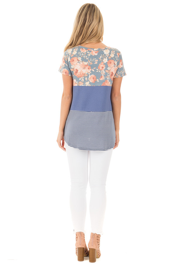Slate Blue Knit Color Block Top with Floral Contrast back full body