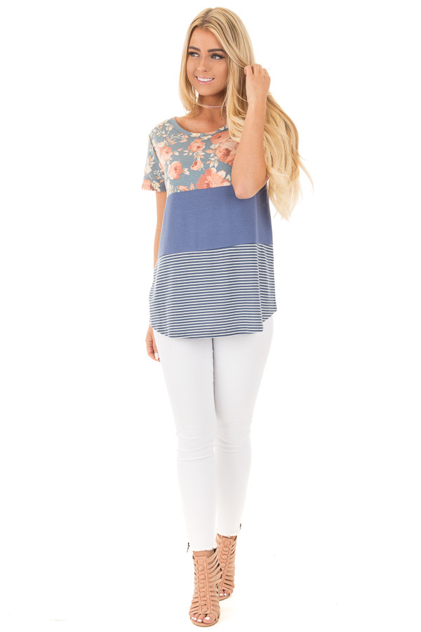 Slate Blue Knit Color Block Top with Floral Contrast front full body