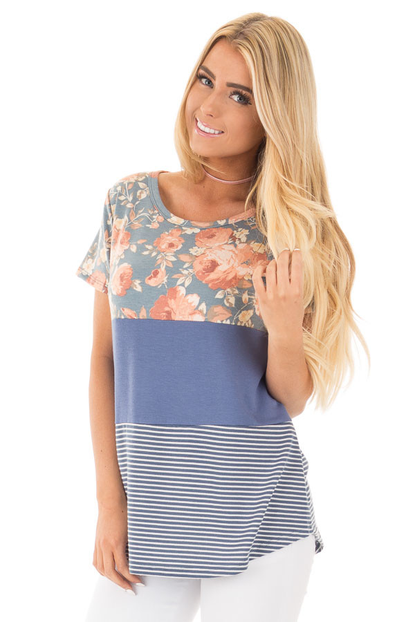 Slate Blue Knit Color Block Top with Floral Contrast front close up