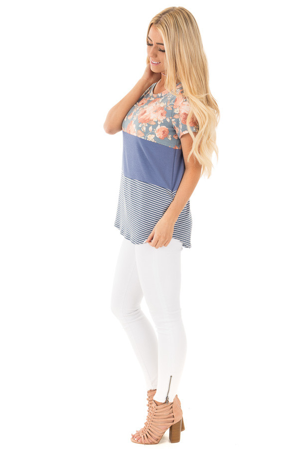 Slate Blue Knit Color Block Top with Floral Contrast side full body