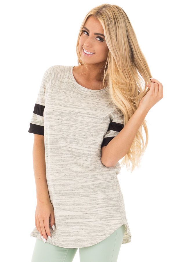 Heather Grey Two Tone Tunic with Black Sleeve Stripe Detail front close up