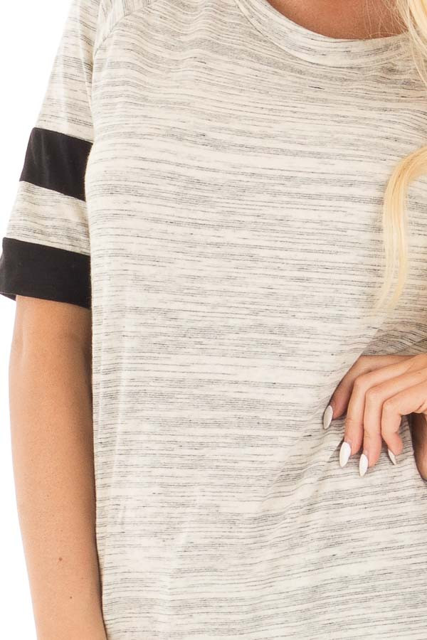 Heather Grey Two Tone Tunic with Black Sleeve Stripe Detail detail