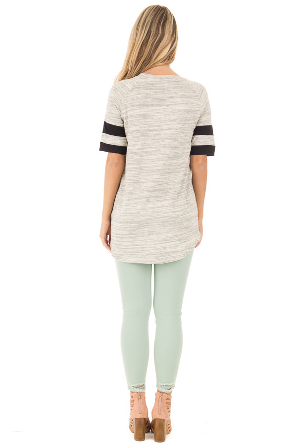 Heather Grey Two Tone Tunic with Black Sleeve Stripe Detail back full body
