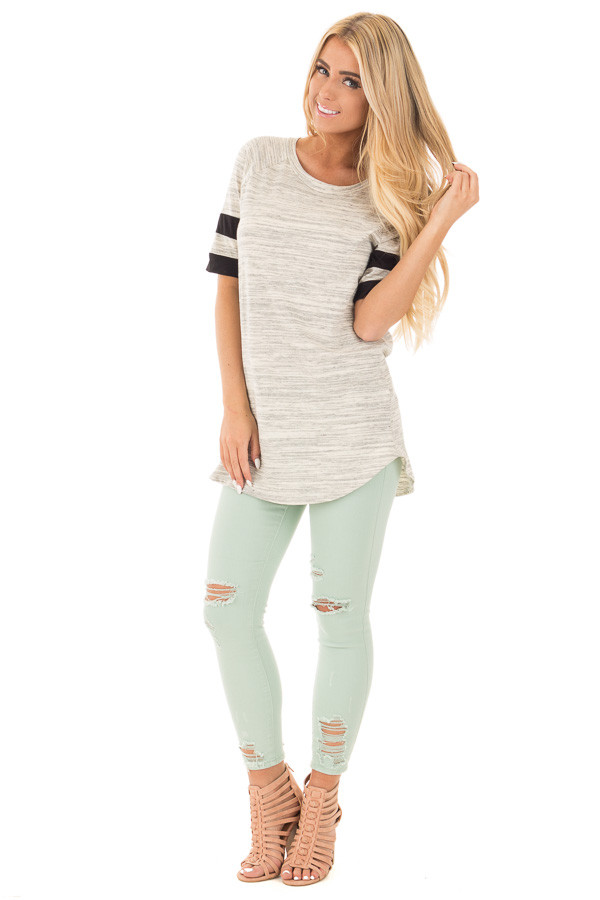 Heather Grey Two Tone Tunic with Black Sleeve Stripe Detail front full body