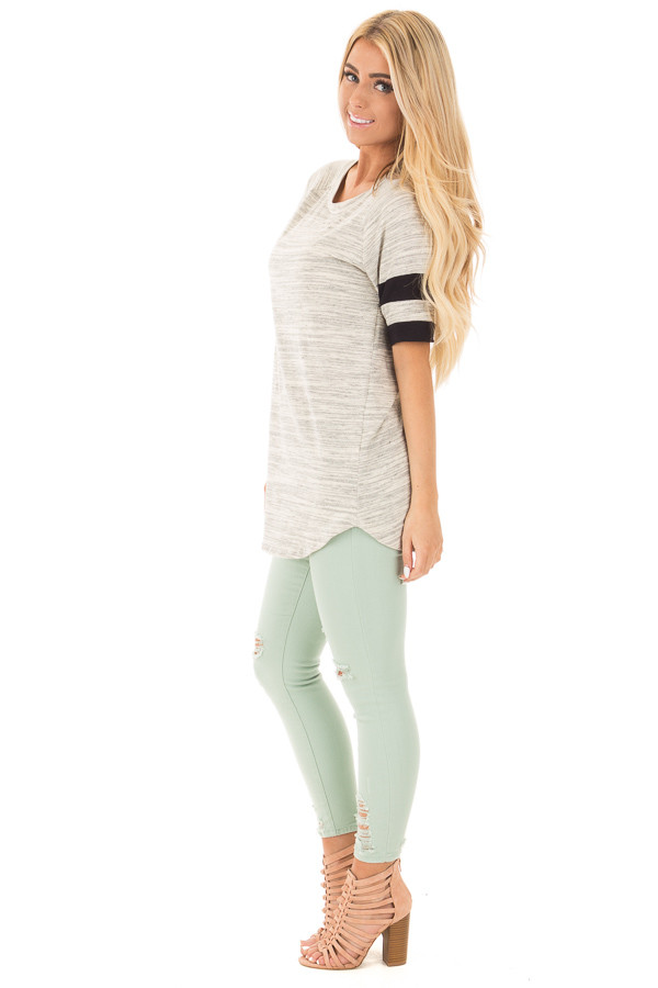 Heather Grey Two Tone Tunic with Black Sleeve Stripe Detail side full body