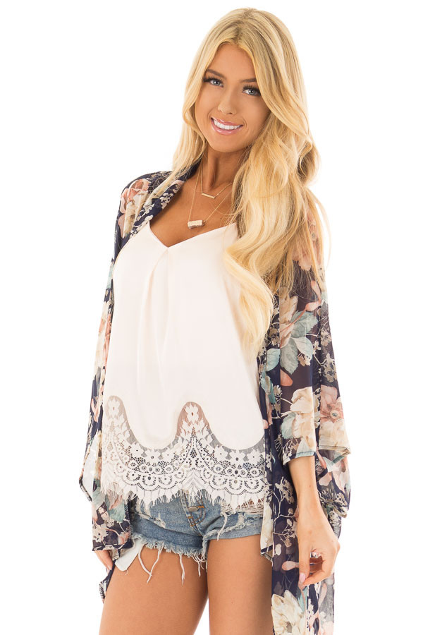 Navy and Blush Large Floral Print Long Kimono front close up