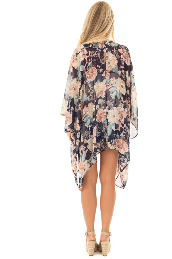 Navy and Blush Large Floral Print Long Kimono back full body