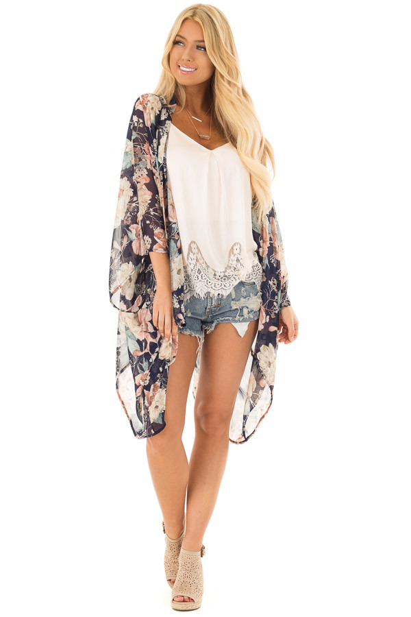 Navy and Blush Large Floral Print Long Kimono front full body