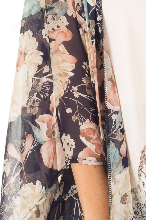 Navy and Blush Large Floral Print Long Kimono detail