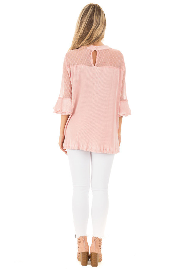 Blush Textured 3/4 Sleeve Top with Sheer Yoke Details back full body