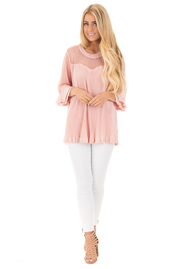 Blush Textured 3/4 Sleeve Top with Sheer Yoke Details front full body