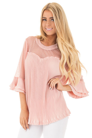 Blush Textured 3/4 Sleeve Top with Sheer Yoke Details front close up