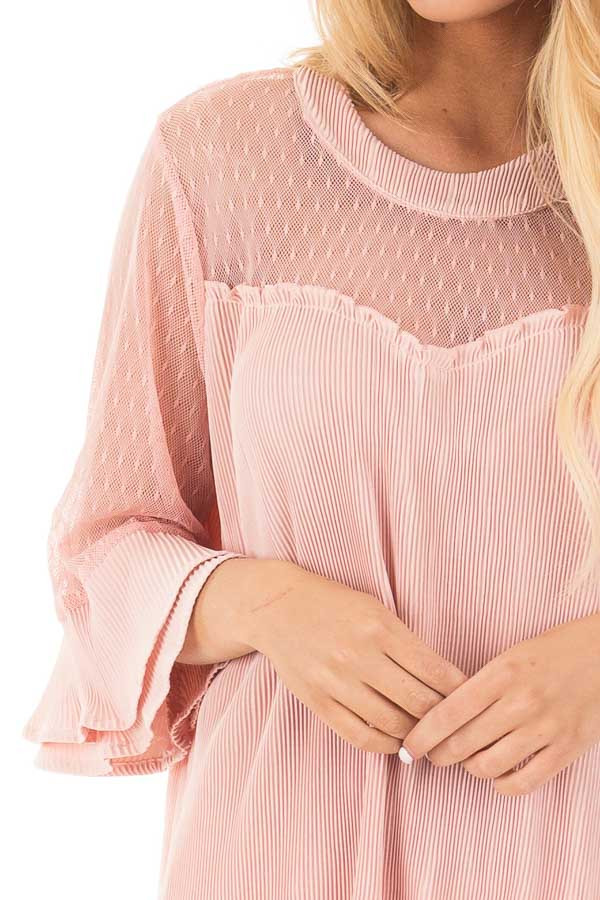 Blush Textured 3/4 Sleeve Top with Sheer Yoke Details detail