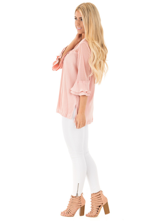 Blush Textured 3/4 Sleeve Top with Sheer Yoke Details side full body