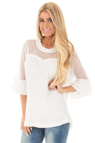 Off White Textured 3/4 Sleeve Top with Sheer Yoke Details front close up