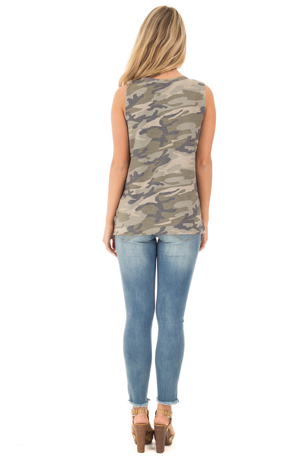Olive Camo Cut Off Tank with Cut Out V Neckline back full body