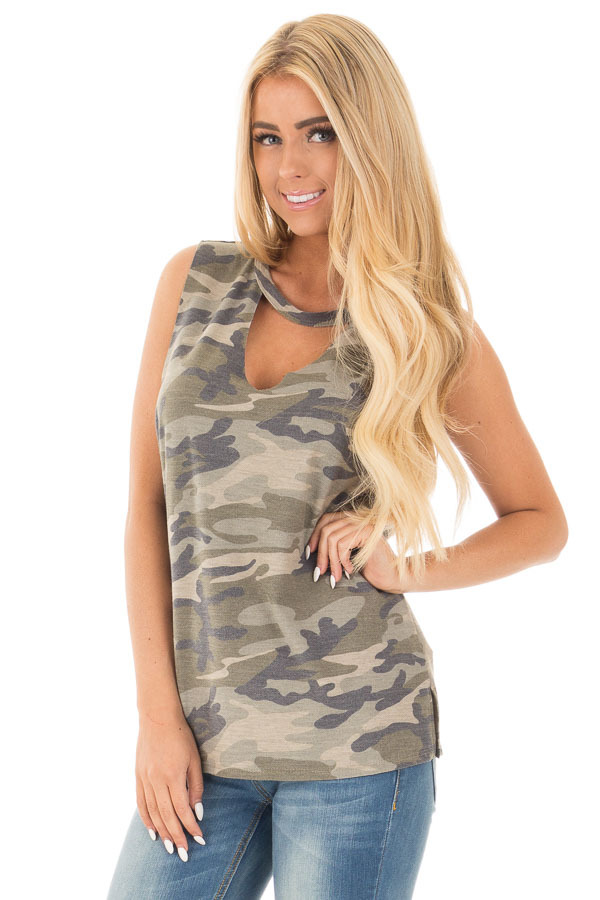 Olive Camo Cut Off Tank with Cut Out V Neckline front close up