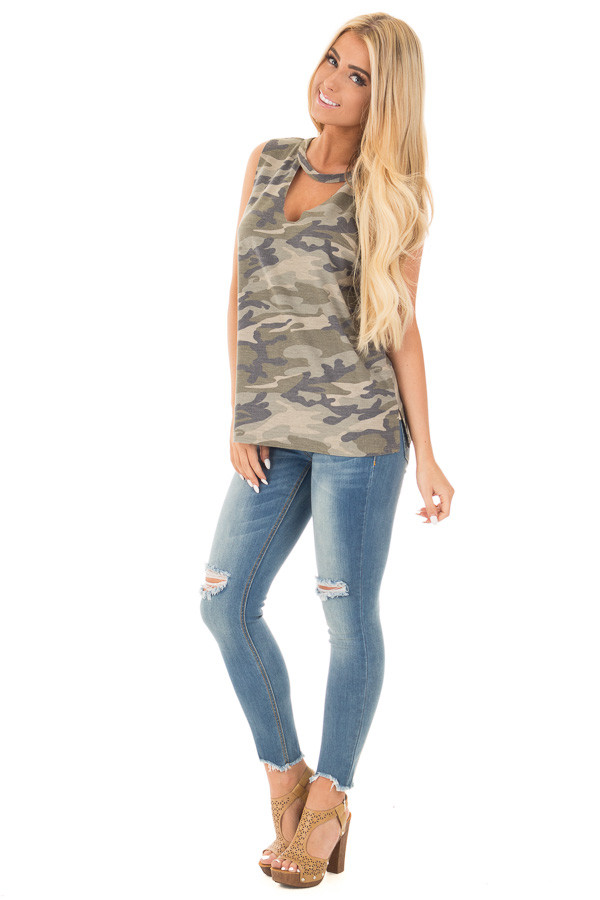 Olive Camo Cut Off Tank with Cut Out V Neckline front full body