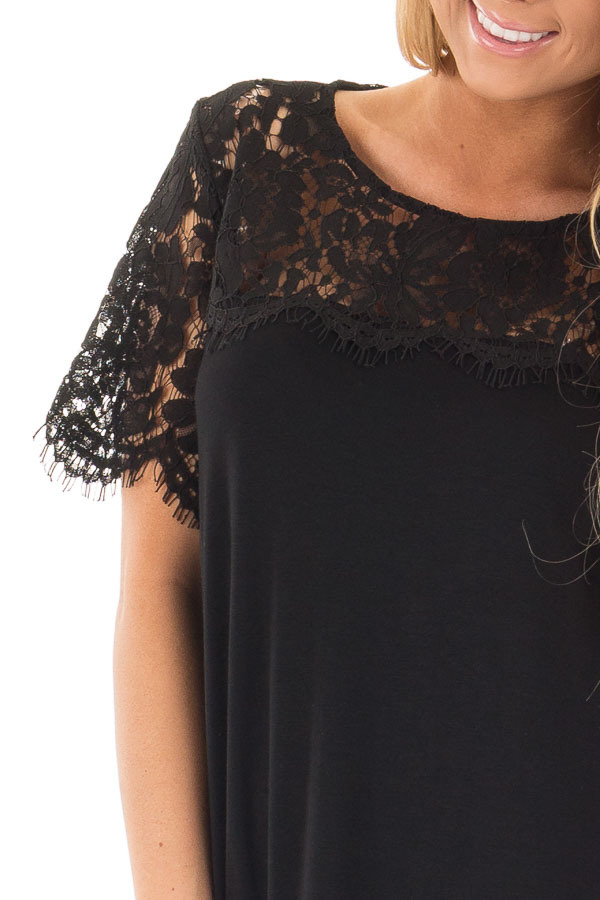Black Tee with Sheer Lace Details detail
