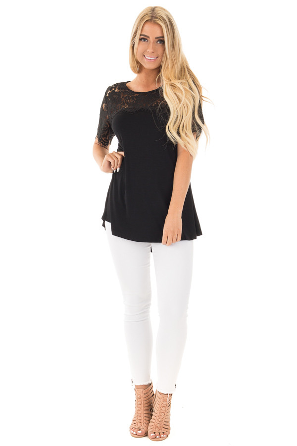 Black Tee with Sheer Lace Details front full body