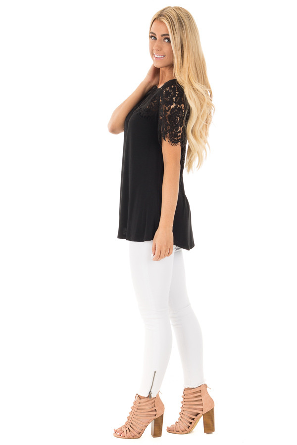 Black Tee with Sheer Lace Details side full body