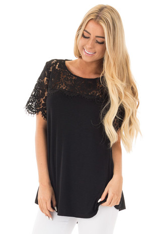 Black Tee with Sheer Lace Details front close up