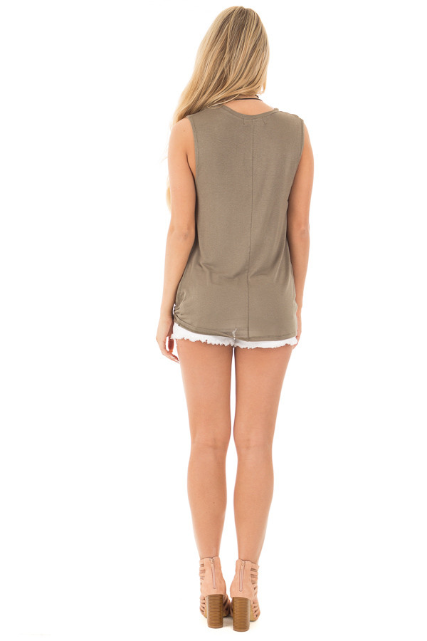 Olive Front Twist Sleeveless Jersey Top back full body