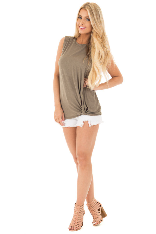 Olive Front Twist Sleeveless Jersey Top front full body