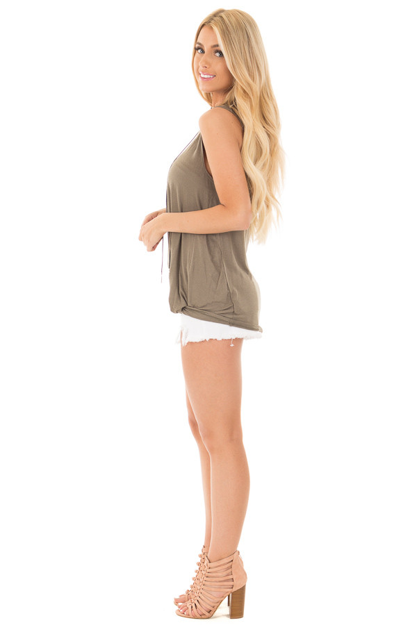 Olive Front Twist Sleeveless Jersey Top side full body