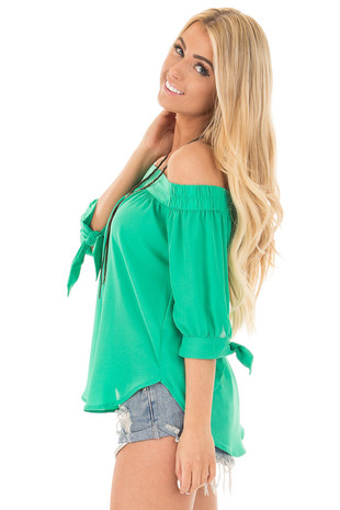 Kelly Green Chiffon Off the Shoulder Blouse side close up