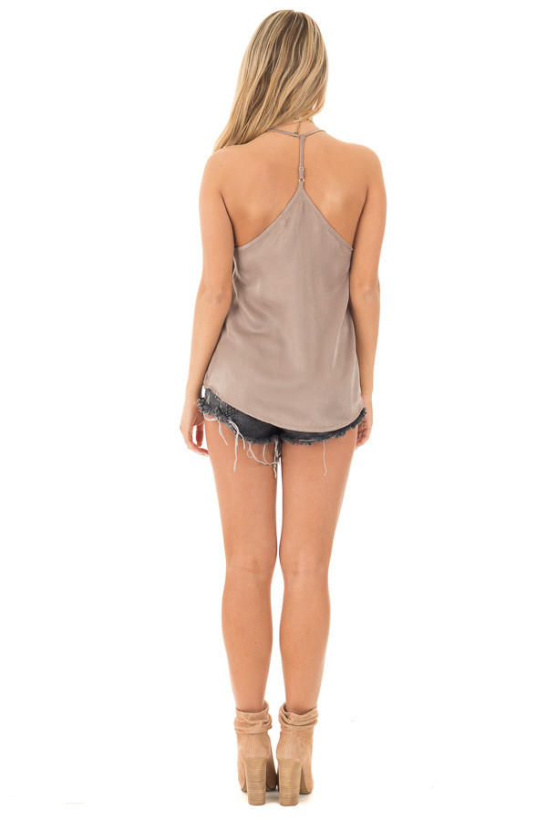 Bronze Soft Satin Halter Top back full body
