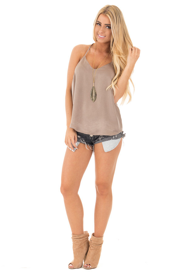 Bronze Soft Satin Halter Top front full body