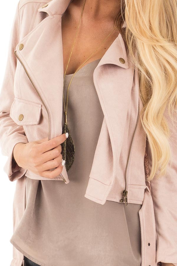 Dusty Pink Soft Zip Up Gypsy Suede Comfy Moto Jacket detail