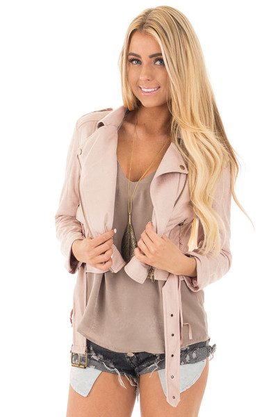 Dusty Pink Soft Zip Up Gypsy Suede Comfy Moto Jacket front close up
