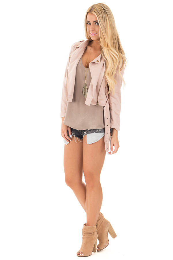 Dusty Pink Soft Zip Up Gypsy Suede Comfy Moto Jacket front full body