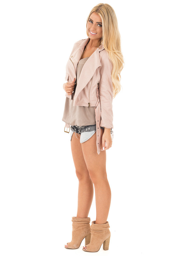 Dusty Pink Soft Zip Up Gypsy Suede Comfy Moto Jacket side full body
