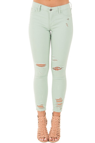 Sage Distressed Cropped Ankle Midrise Skinny Jeans front view