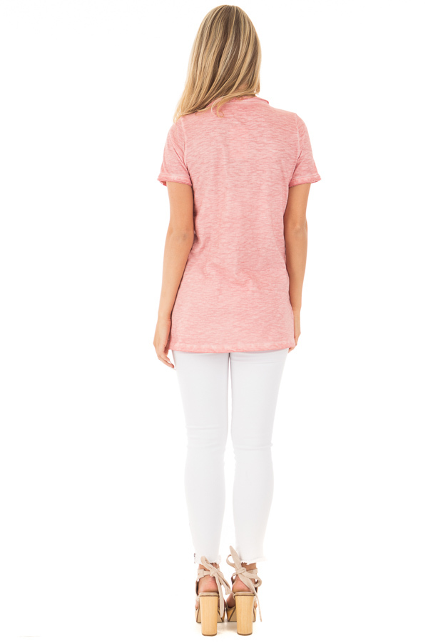 Mauve Mineral Washed Tee with Empire Waist and Short Sleeves back full body