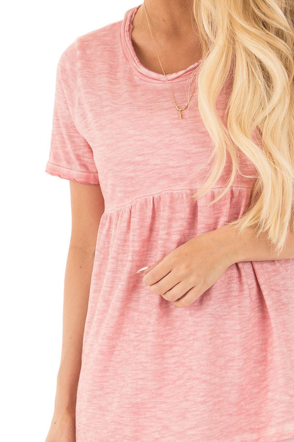 Mauve Mineral Washed Tee with Empire Waist and Short Sleeves detail