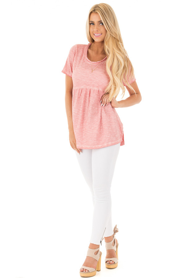 Mauve Mineral Washed Tee with Empire Waist and Short Sleeves front full body