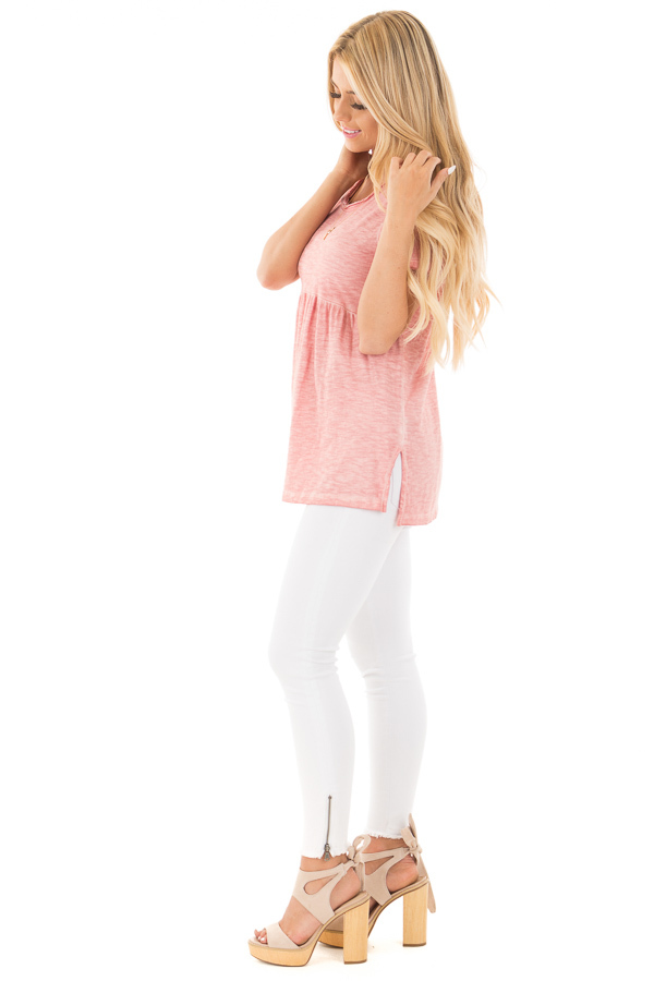Mauve Mineral Washed Tee with Empire Waist and Short Sleeves side full body