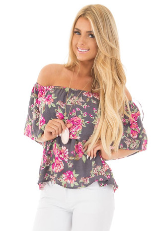 Steel Grey Floral Print Off Shoulder Top with Overlay Detail front close up
