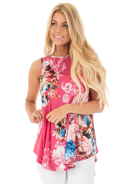 Dusty Pink Slinky Floral Print Sleeveless Tunic front close up