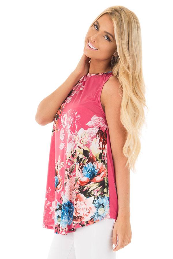 Dusty Pink Slinky Floral Print Sleeveless Tunic side close up
