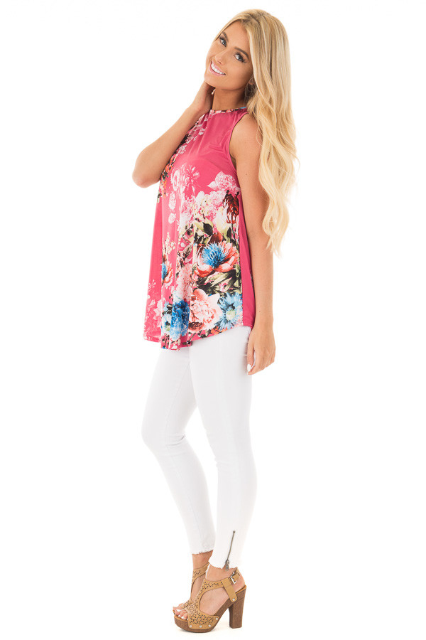 Dusty Pink Slinky Floral Print Sleeveless Tunic side full body